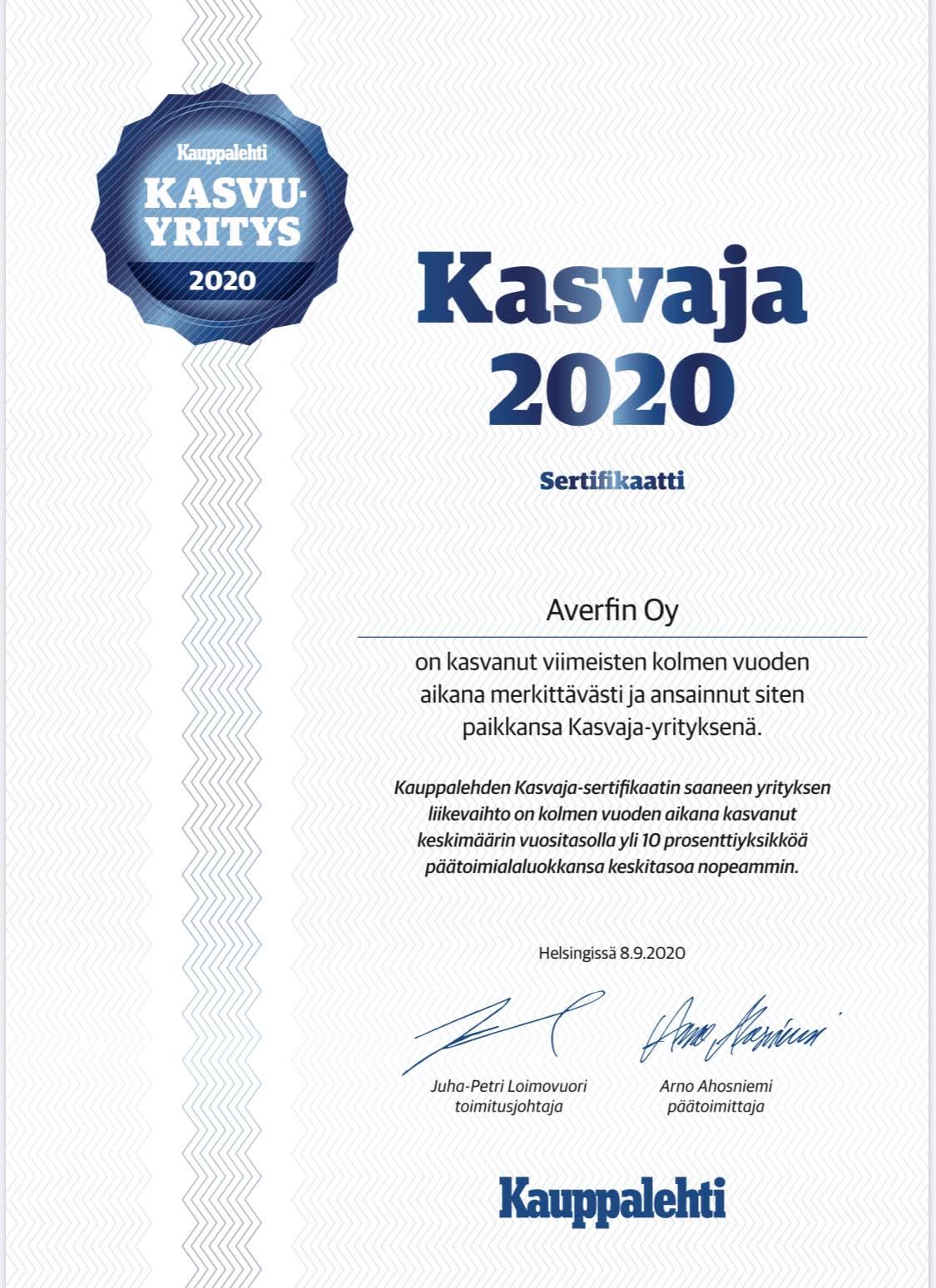 Kasvuyritys 2020 - Averfin Oy